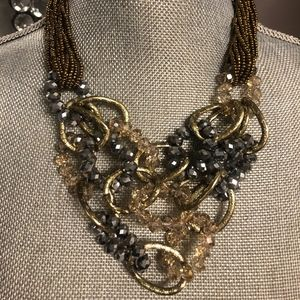 Grey & Gold Beaded Cluster Necklace